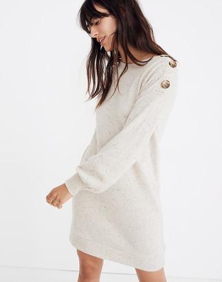 Madewell Boatneck Button-Shoulder Sweater-Dress