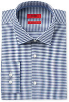 HUGO BOSS Men's Slim-Fit Dark Blue Mini Plaid Dress Shirt