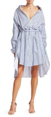 By Any Other Name Velvet Stripe High-Low Shirtdress
