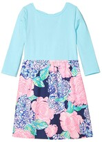 Lilly Pulitzer Mochi Dress (Toddler/Little Kids/Big Kids) (High Tide Navy Hey Hey Bouquet) Girl's Dress