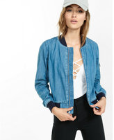 Express denim fitted bomber jacket