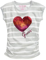 GUESS Shirt, Little Girls Logo Heart Tee
