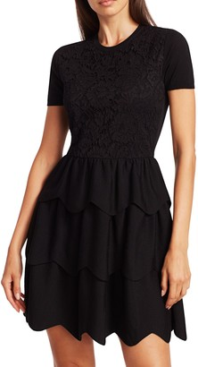 Valentino Lace Tiered Short-Sleeve Wool Dress