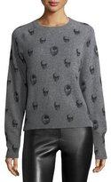 360 Sweater 360Sweater Ebony Crewneck Skull-Print Cashmere Sweater