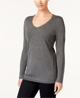 JM Collection Rivet-Detail V-Neck Sweater, Created for Macy's