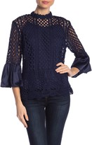 DOLCE CABO Crochet Lace Bell Sleeve Blouse