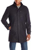 Perry Ellis Men's 35-Inch Wool-Blend Zip-Front Coat with Snap Placket