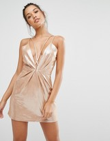 Missguided Strappy Foiled Suede Bodycon Dress