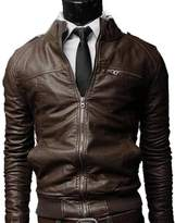 Yaheeda Men's Casual Stand Collar Slim PU Leather Motorcycle Rider Faux-Leather Jacket Coat Jacket
