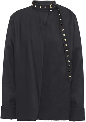 Marques Almeida Draped Buckle And Eyelet-detailed Tencel-twill Blouse