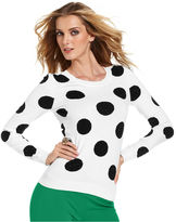 INC International Concepts Petite Sweater, Long-Sleeve Studded Polka-Dot
