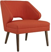 The Well Appointed House Fabric Armchair on Dark Walnut Wood Legs in Red