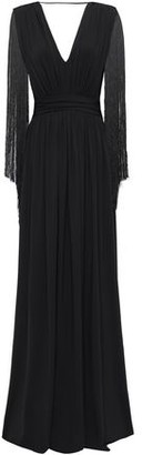 Alberta Ferretti Gathered Fringe-trimmed Jersey Gown