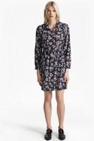 French Connection Eva Crepe Leaf Print Shirt Dress