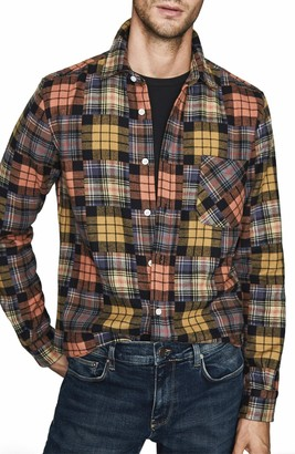 Reiss Renoire Slim Fit Plaid Patchwork Button-Up Flannel Shirt