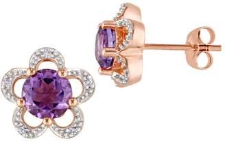Laura Ashley English Garden 10K White Gold, Amethyst 0.05 CT. T.W. Diamond Flower Stud Earrings
