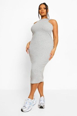 boohoo Plus Rib Racer Front Midi Bodycon Dress