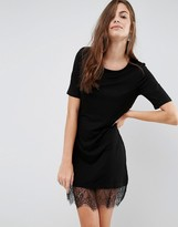 Brave Soul Lace Hem T-Shirt Dress