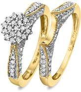 My Trio Rings 1/2 CT. T.W. Round Cut Diamond Women's Bridal Wedding Ring Set 14K Yellow Gold