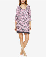 Ellen Tracy Contrast-Trimmed Printed Knit Sleepshirt