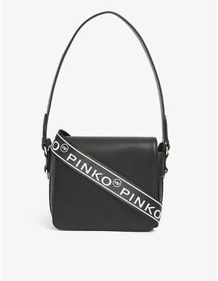 Pinko Kids logo-print leather backpack