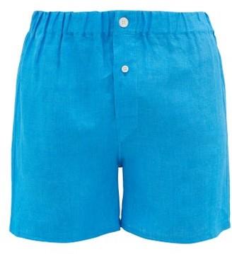 Emma Willis Slim-fit Linen Boxer Shorts - Light Blue