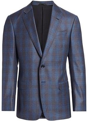 Giorgio Armani Plaid Single-Breasted Wool Jacket