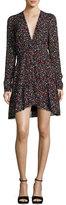 A.L.C. Renata Long-Sleeve Floral Silk Mini Dress, Black/Multicolor
