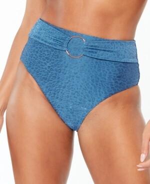 Bar III High-Rise Satin Cheetah Bikini Bottoms, Created for Macy's Women's Swimsuit