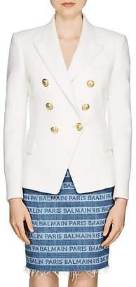 Balmain Women's Cotton Double-Breasted Blazer - White