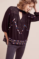 Chloe Oliver Embroidered Keyhole Blouse
