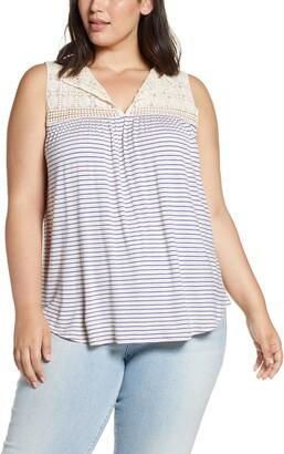 Loveappella Stripe Crochet Yoke Swing Tank Top
