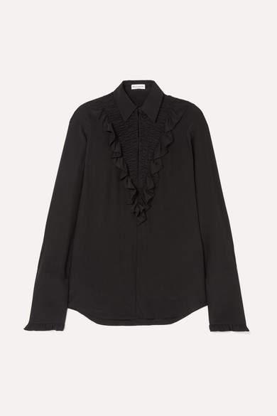 Sonia Rykiel Ruffled Silk Crepe De Chine Shirt - Black
