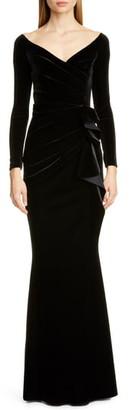 Chiara Boni Silveria Long Sleeve Velvet Gown