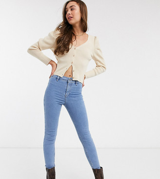 Topshop Petite joni jeans in bleach wash