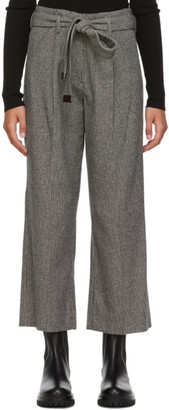 S Max Mara Black and White Wool Houndstooth Exploit Trousers