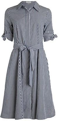 Calvin Klein Belted Gingham Cotton Shirtdress