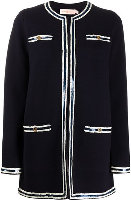 Tory Burch Two-Tone Knitted Cardigan