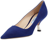 Prada Suede Comma-Heel Pointed-Toe Pump, Navy (Marina)