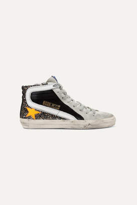 Golden Goose Slide Distressed Glittered Leather And Suede Sneakers - Black