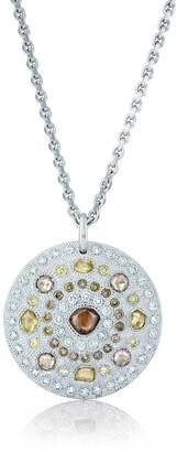 De Beers 18kt white gold Talisman Large Medal diamond pendant necklace