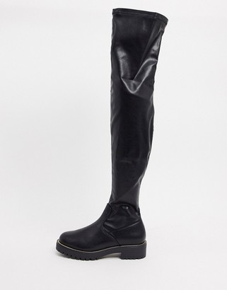 ASOS DESIGN Kate flat over the knee boots in black