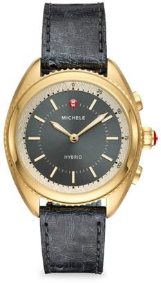 Michele Gold-Plated Shadow Grey Dial & Shadow Grey Ostrich Hybrid Smart Watch