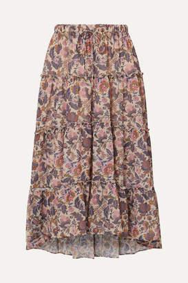 See by Chloe Ruffled Tiered Floral-print Georgette Midi Skirt - Ecru