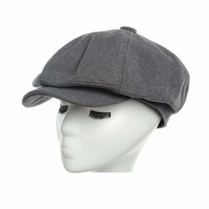 London Design Mens Flat Cap Grey Herringbone Wool Tweed Size 56-57cm