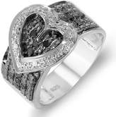 DazzlingRock Collection 0.33 Carat (ctw) Sterling Silver Buckle Heart Ladies Round Black and White Diamond Cocktail Right Hand Ring 1/3 CT (Size 6)