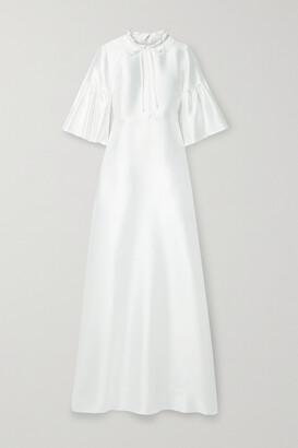 Reem Acra Tie-neck Mikado-pique Gown - White