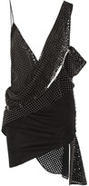Anthony Vaccarello Studded Perforated Faux Suede Mini Dress - Black