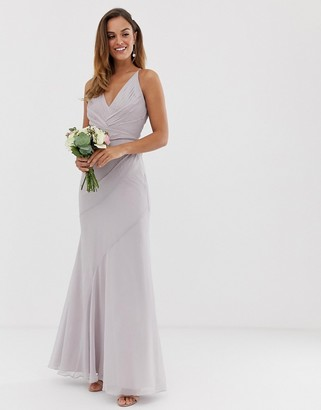 Asos Design DESIGN Bridesmaid maxi dress with pleated cami bodice and fishtail skirt-Pink