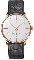 Junghans 027/5202.00 Meister Manual Leather Strap Watch, Black/white